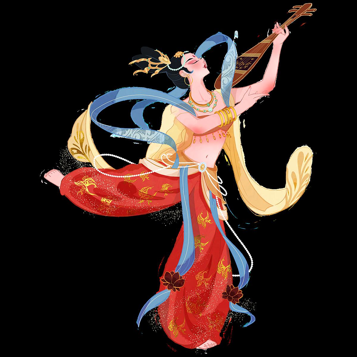 中国风-国潮敦煌飞天仙女人物插画1
