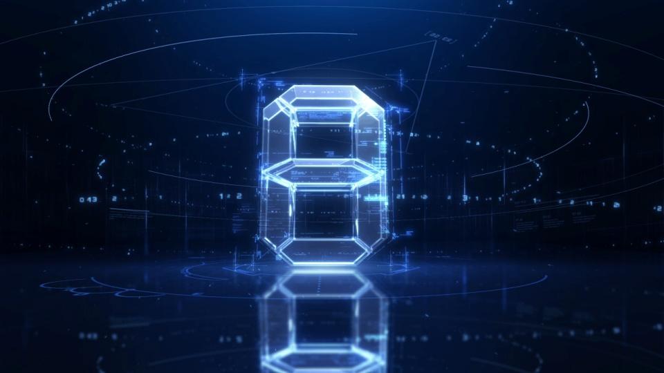 蓝色透明科技感倒计时