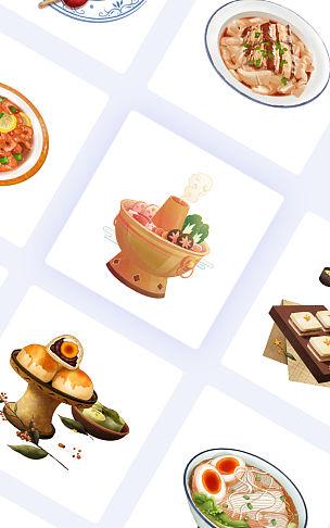 中国传统手绘美食元素