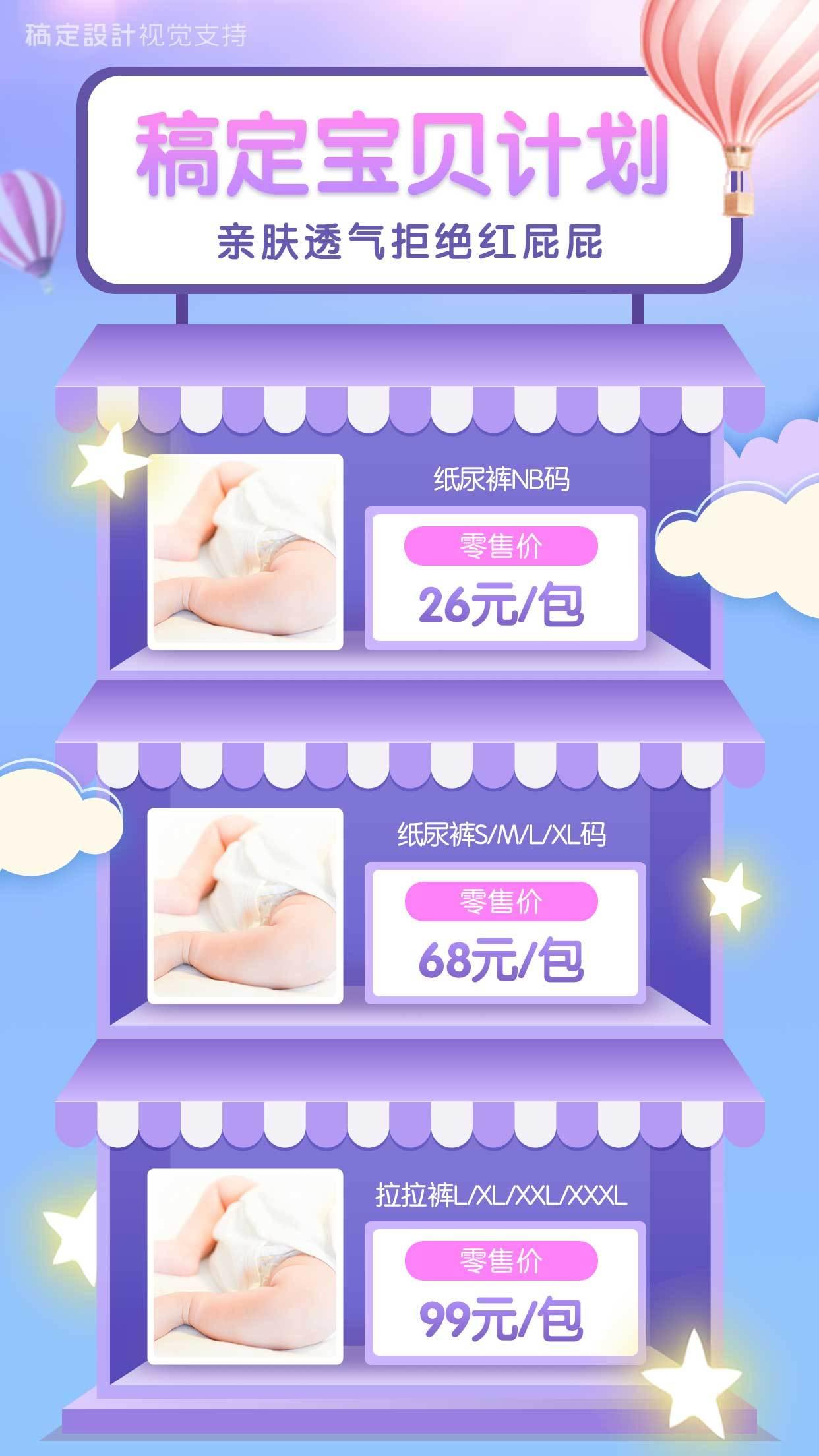 婴儿产品价格展示