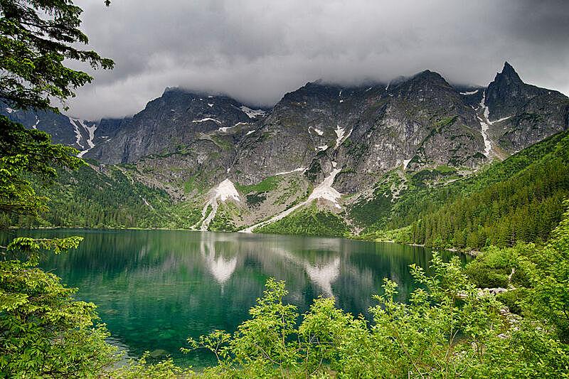 湖,波兰,水,天空,水平画幅,山,雪,无人,夏天,户外