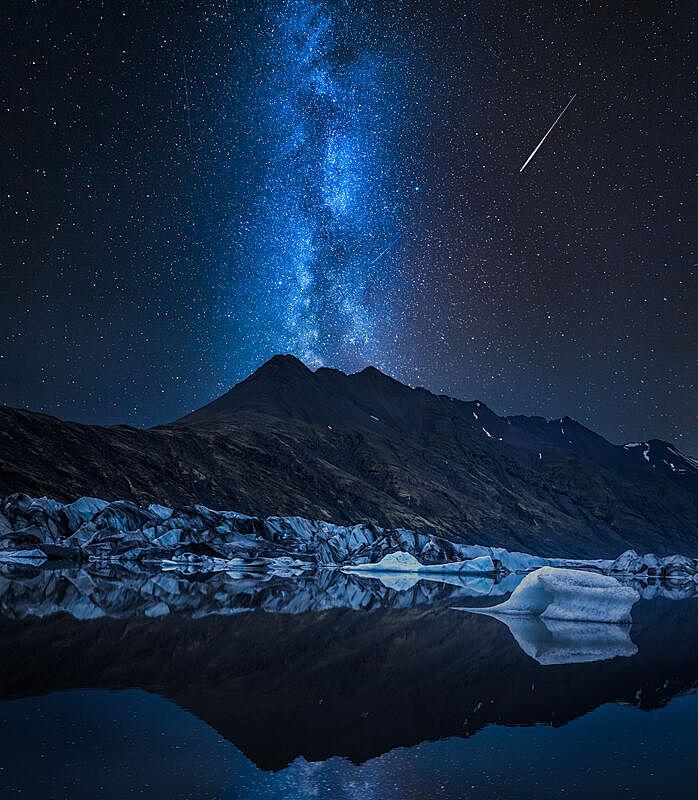 湖,夜晚,冰河,冰岛国,银河系,巨大的,冷,气候,空的,环境