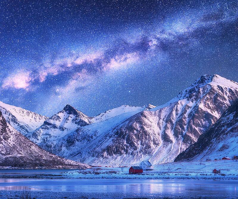 挪威,山脊,雪,北欧,岩石,星系,夜晚,乡村,建筑外部,房屋