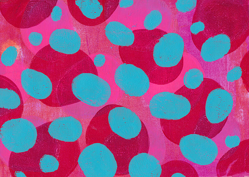 背景,40-80年代风格复兴,手工着色,圆点,混合素材纸本,品红色,油涂料印刷品,复合媒材,绿松石色,式样