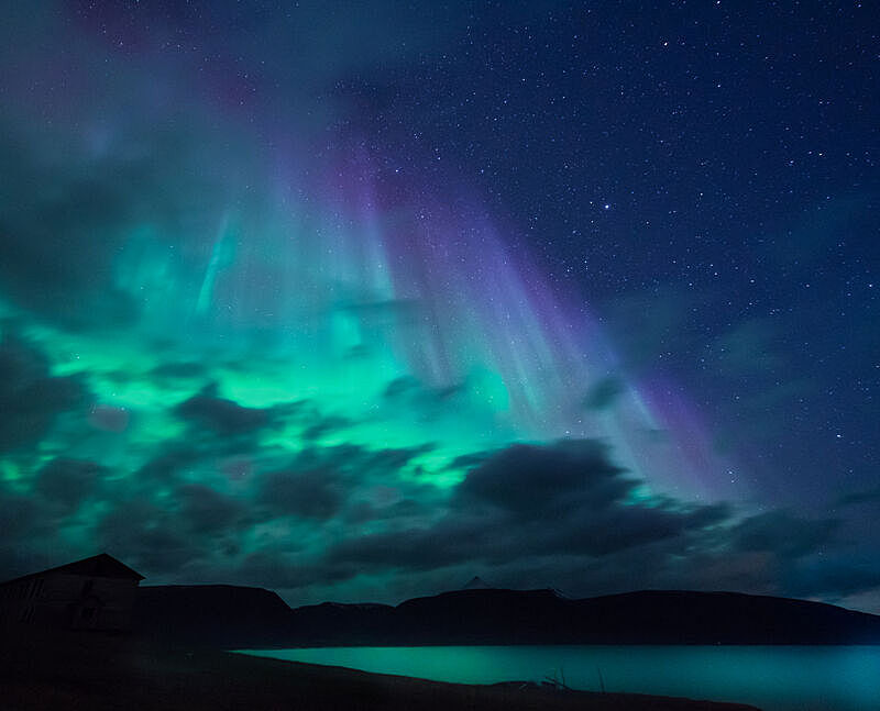 天空,星星,月亮,北极光,山,朗伊尔城,挪威,北极,南极洲,斯瓦尔巴德群岛