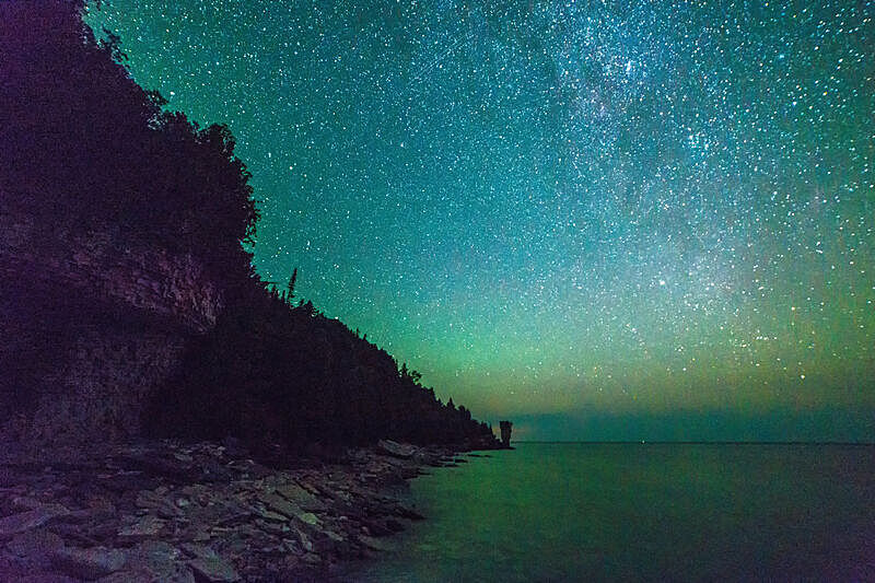 天空,星星,夜晚,明亮,自然美,峭壁,夏天,尼亚加拉瀑布,水,星系