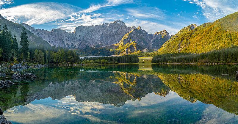 湖,山,风景,苏打,julian alps,意大利,水,天空,水平画幅,无人