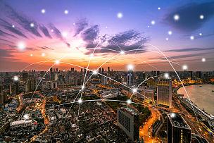 技术,城市,网线插头,天空,留白,未来,高视角,夜晚,都市风景,现代
