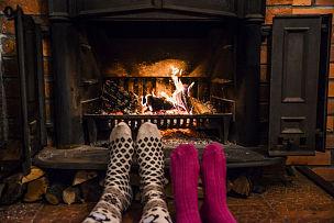 袜子,火,足,羊毛,舒服,一对,人类脚趾,壁炉,圆木,热