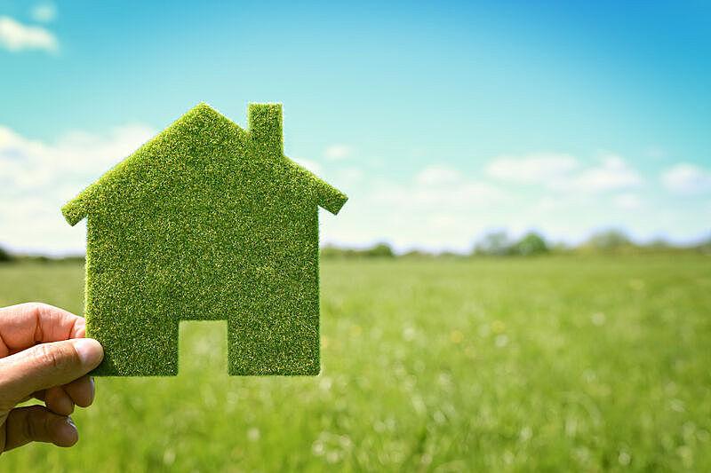 绿色,房屋,环境,背景,天空,留白,水平画幅,能源,符号,户外