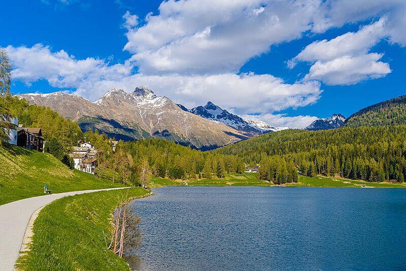 水晶,格劳宝登州,圣莫瑞兹,蓝湖,云景,云,草,河流,户外,晴朗