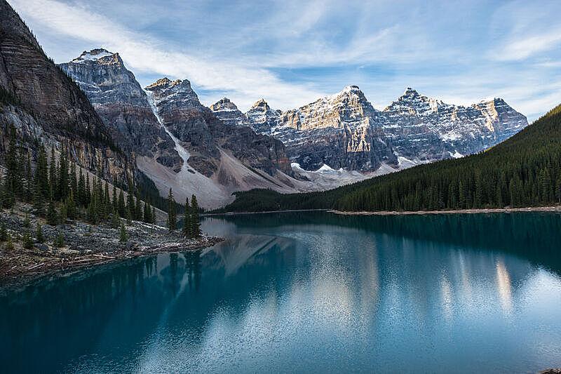 阿尔伯塔省,加拿大,梦莲湖,冰碛,水,天空,公园,洛矶山脉,水平画幅,雪