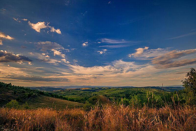 云景,风景,田地,自然美,在上面,山,农业,山脊,云,木材