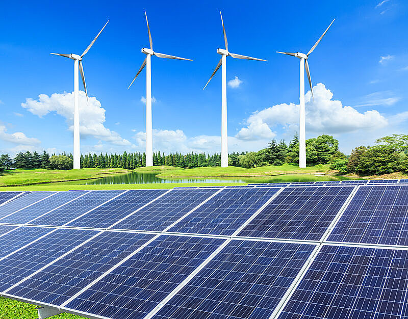 风轮机,太阳能电池板,田地,绿色,可再生能源,风力,替代能源,太阳能,生物燃料,天空