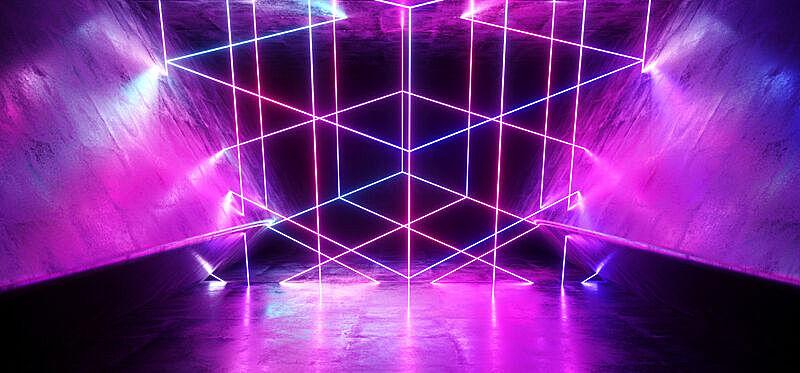 现代,隧道,三维图形,混凝土,粉色,霓虹灯,紫色,激光,蓝色,抽象
