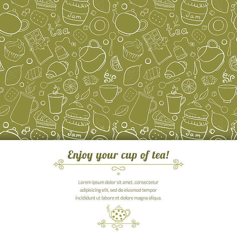 矢量,背景,茶,糖果店,下午茶,茶包,方糖,烤咖啡豆,纹理效果,绘画插图