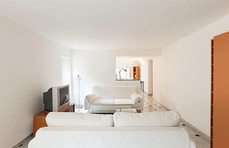 公寓,室内,小的,新的,水平画幅,墙,无人,家具,现代,沙发