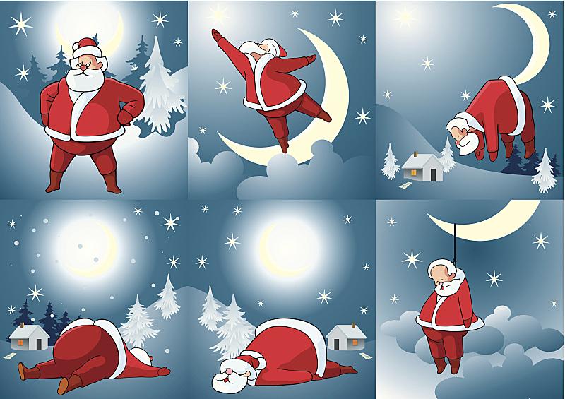 圣诞老公,寒冷,圣诞装饰物,圣诞帽,圣诞卡,云,雪,杉树,背景,改进