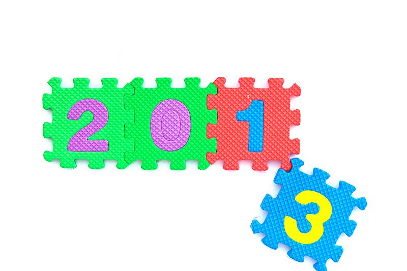 新年前夕,拼图拼块,2014年,新的,水平画幅,嬉戏的,符号,阴影,红色,部分