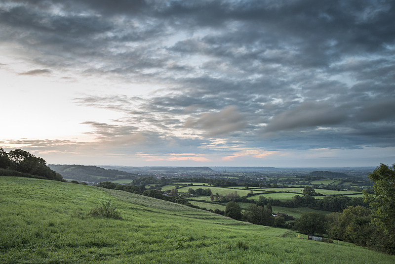 英格兰,黎明,地形,萨默塞特平原区,在上面,自然美,天空,水平画幅,云,无人
