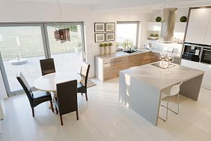 厨房,明亮,饭厅,水平画幅,无人,椅子,微波炉,家具,居住区,现代