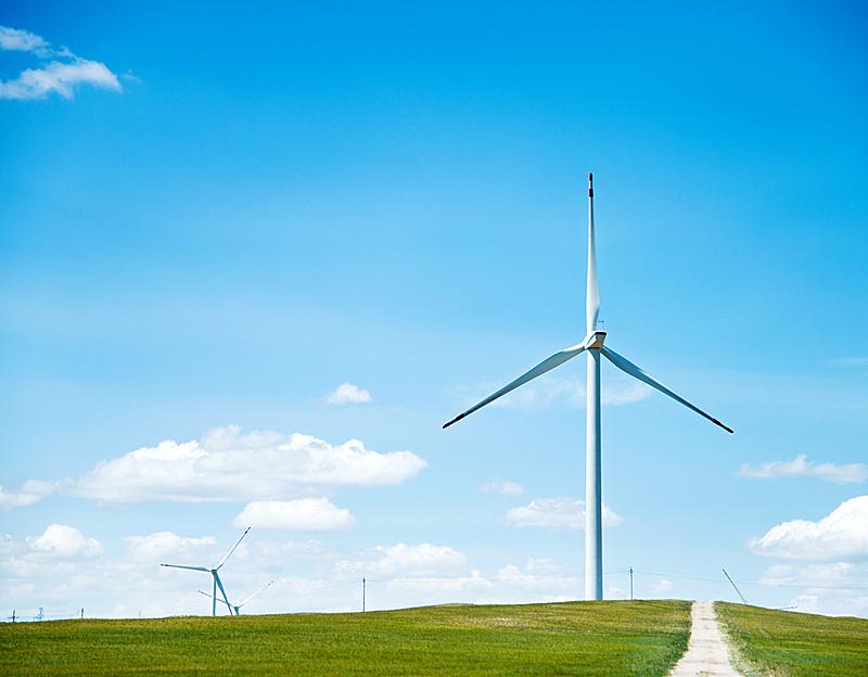 风轮机,平原,乡村路,草原,风力,天空,留白,风,能源,涡轮