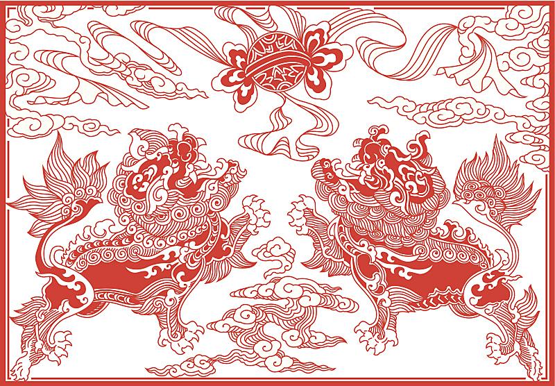 狮子,进行中,珍珠牡蛎,公亩,狮子舞蹈,春节,过时的,秘密,球,云景