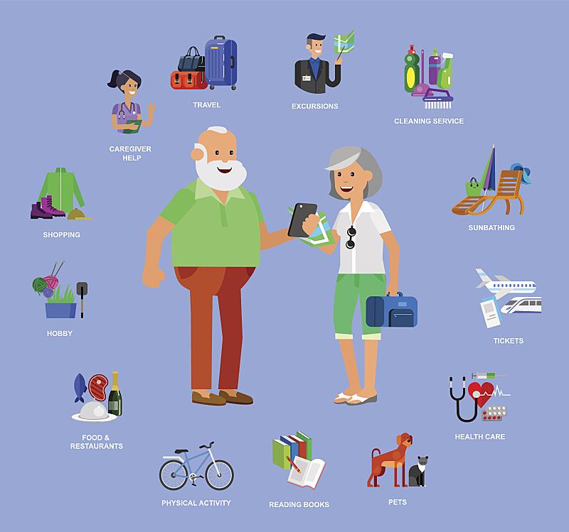 矢量,计划书,老年人,性格,平坦的,酷,身体活动,健康保健,手提箱,背景