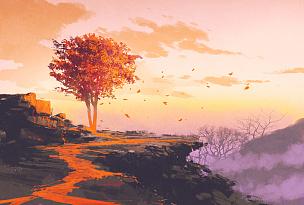 山,秋天,在上面,天空,美,艺术,水平画幅,形状,绘画插图