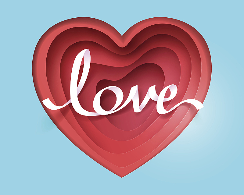 心型,纸,艺术,文字,红色,书法,折纸工艺,情人节,华丽的,美