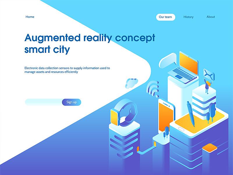 绘画插图,技术,矢量,概念,增强现实,门厅,智慧城市,三维图形,模板,书页