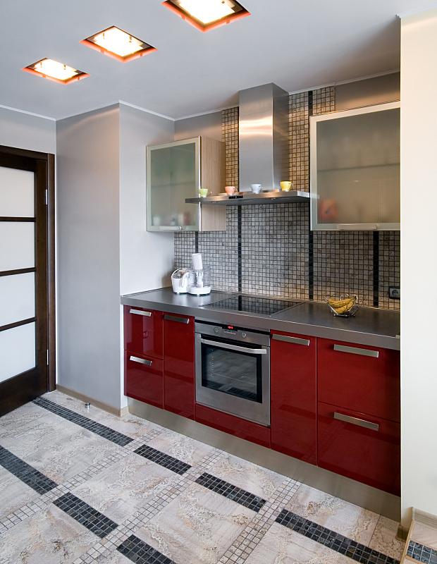 现代,厨房,垂直画幅,新的,无人,家庭生活,天花板,灯,石材,家具