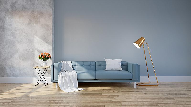 沙发,蓝色,室内,极简构图,墙,灯,硬木地板,起居室,三维图形,黄金
