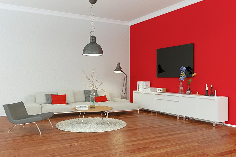 现代,起居室,围墙,红色,室内设计师,灰色,模板,沙发,装饰物,豪宅