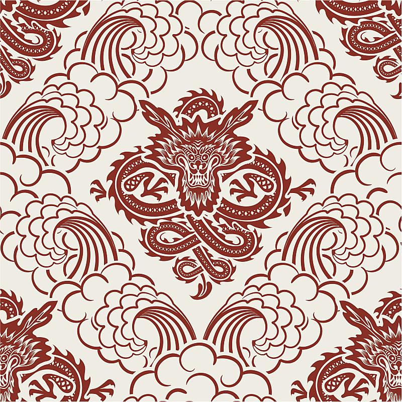 龙,波浪,四方连续纹样,美,绘画作品,艺术,绘画插图,怪物,矢量,式样