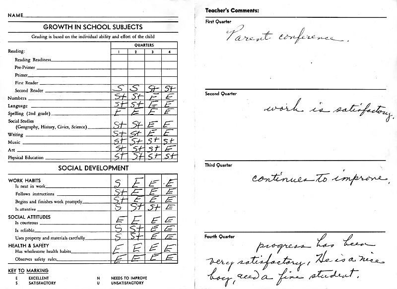 成绩单,1950-1959年图片,小学,报告,古典式,水平画幅,复古,教育,进展,手写