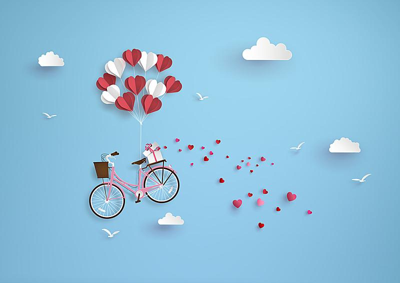 情人节,绘画插图,白昼,天空,风,折叠的,水平画幅,云,符号,气球