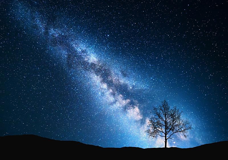 银河系,田地,空间探索,星云,星系,星星,天空,美,水平画幅,山