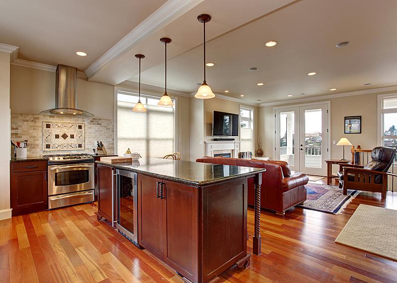 厨房,艺术,玷污的,木制,州,窗户,住宅房间,水平画幅,吧椅,建筑