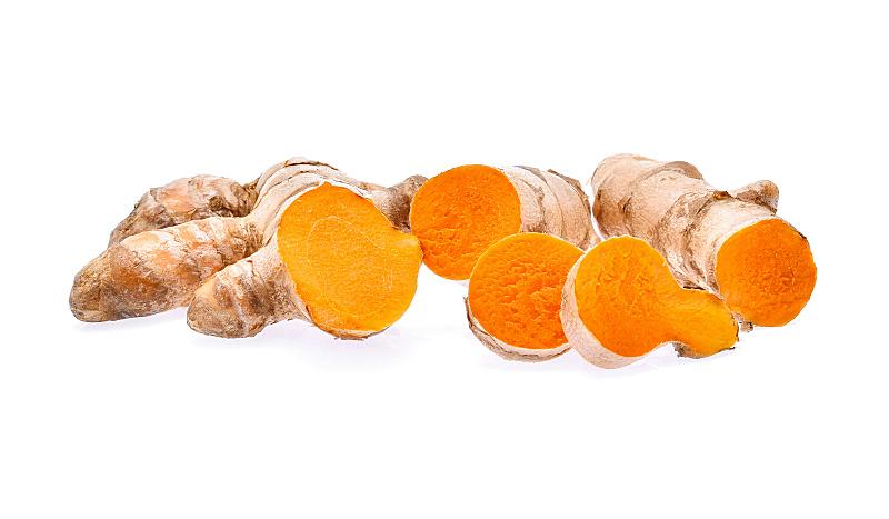 姜黄,分离着色,白色背景,咖喱,褐色,桌子,水平画幅,根部,无人,有机食品