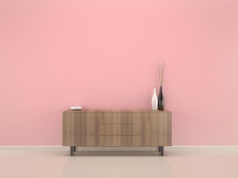 室内,粉色,木制,墙,三维图形,柜子,淡红葡萄酒,起居室,水平画幅,无人