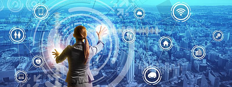 未来,全景,抽象,商务人士,智慧城市,图像,格子烤肉,宽的,大数据,图形界面