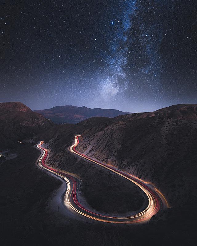 银河系,汽车,长时间曝光,峡谷,小路,垂直画幅,天空,星系,沟壑,高视角