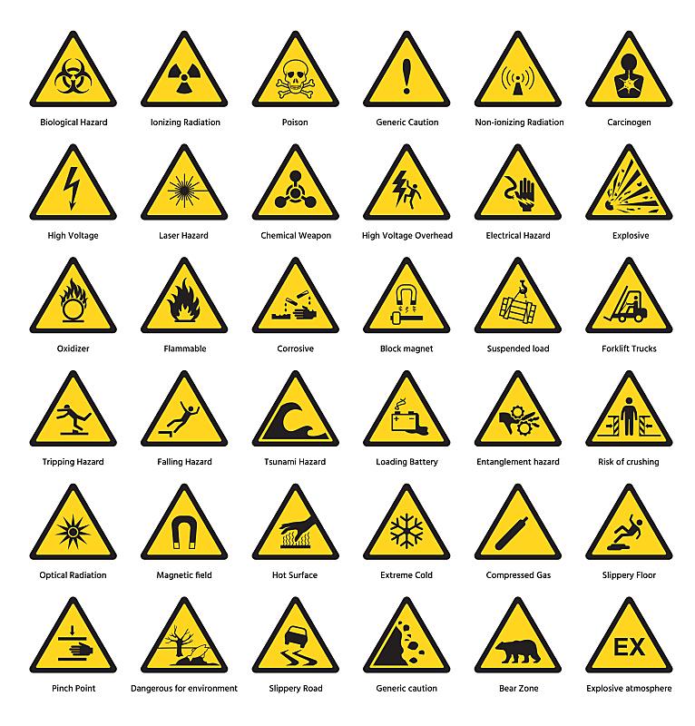 绘画插图,安全,矢量,化学制品,黄色,符号,危险,安全的,三角形