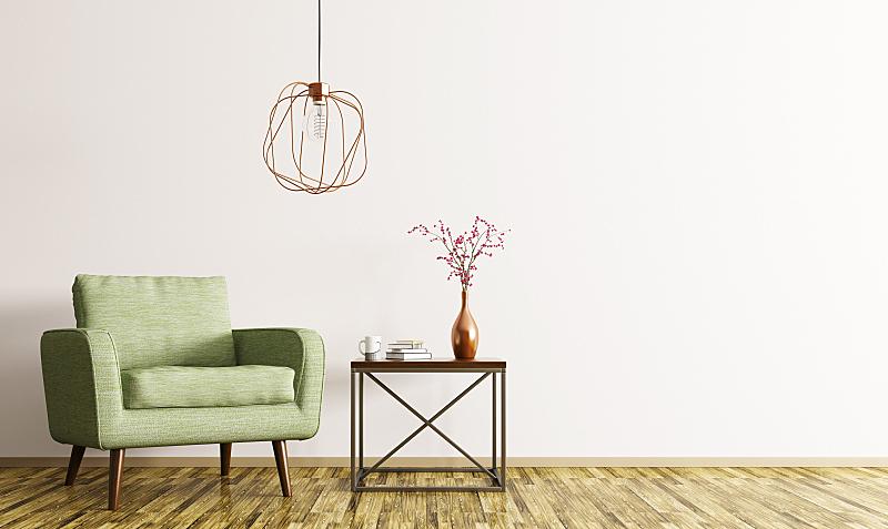 三维图形,扶手椅,室内,茶几,水平画幅,纺织品,墙,椅子,灯,家具