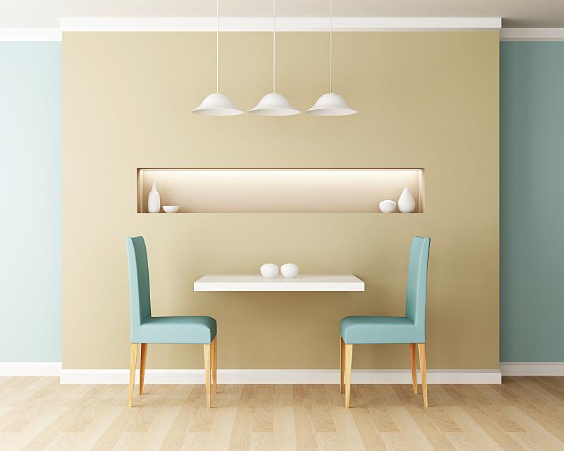 椅子,桌子,饭厅,灵感,艺术,水平画幅,形状,墙,无人,绘画插图