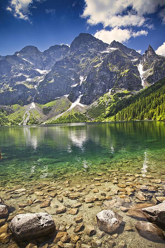 塔特里山脉,湖,垂直画幅,水,天空,山,无人,户外,著名自然景观,彩色图片