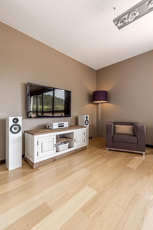 住宅房间,宽的,柜子,电视机,垂直画幅,褐色,无人,硬木地板,装饰物,舒服
