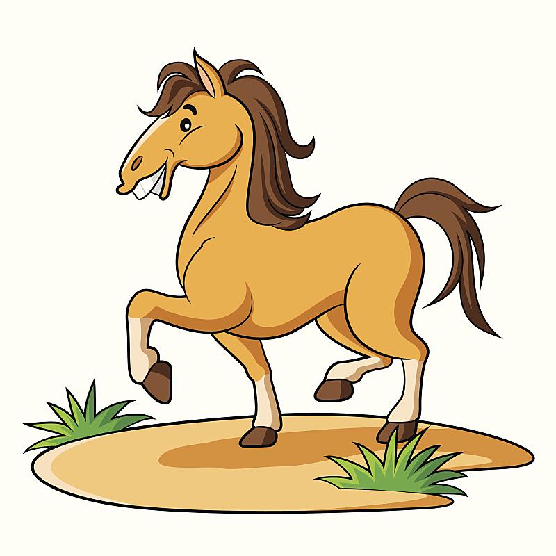 卡通,马,美,褐色,动物嘴,拟人笑脸,绘画插图,动物身体部位,阴影