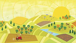 地形,人字梯,拼块地形,苹果园,讲故事,农业,可爱的,景观设计,狗,鸟类